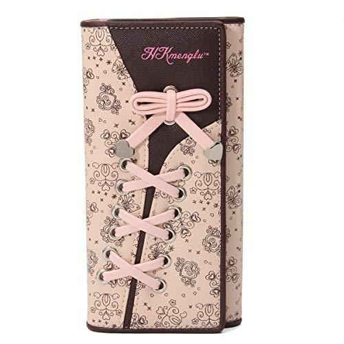 N newland Damen Elegant Süß Leder Geldbörse Damen Blumen Schnürsenkel Schuhband Portemonnaie Geldbeutel Rosa