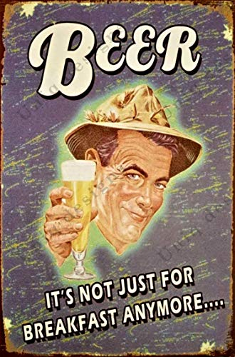 UNiQ Designs Vintage Beer Tin Signs BEER Its Not Just for Breakfast Anymore Metal Beer Signs - Bar Signs Vintage Beer Wall decor Alcohol Signs -Funny Signs for Bar Beer Decorations Bar Sign Decor 12x8
