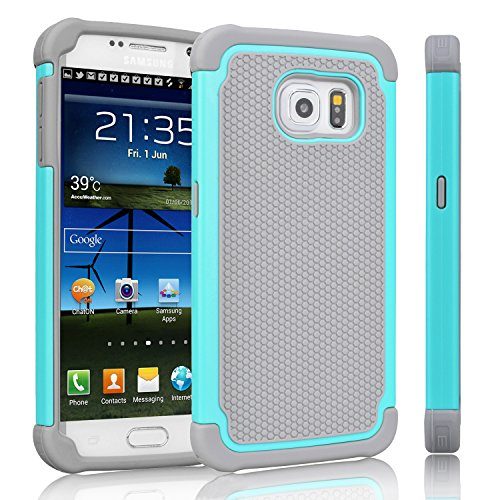 Slim Thin Hybrid Shock Absorption Scratch Resistant TPU Skin Silicone Full-body Protective for Samsung Galaxy S6 rose Galaxy S6 Case with Kickstand Heavy Duty Armor