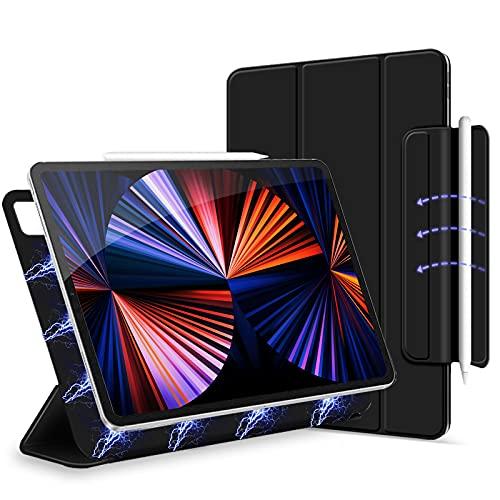 ipad pro 12.9 ケース 2021 第五世代(2020/2018)磁気吸着 三つ折り ipad pro 2021 12.9 ケース オートスリープ/ウェイク マグネット吸着式 留め具付き スリム且つ軽量 Xingmeng