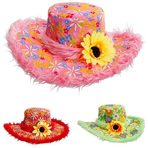 Pinker Hippie Hut Plüsch Blumenhut pink Flower Power Plüschhut mit Sonnenblume 70er Jahre Kopfbedeckung Fasching Schlager Party Faschingshut Partyhut Retro Mottoparty Accessoire Karneval Kostüm