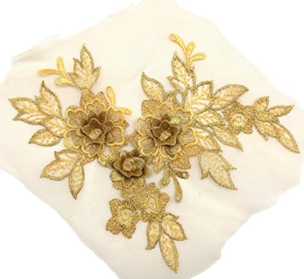 PEPPERLONELY 2PC 3D Gold Flower Embroidered Lace Appliques Handmade Wedding Dress Decoration DIY Sewing Craft, 19 x 15cm