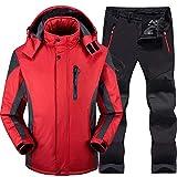 HIJUF Completo da Sci da Uomo Set da Sci e Snowboard Pantaloni da Snowboard Antivento Impermeabili Super Caldi Pantaloni da Snowboard Invernali Uomo, Rosso, XL