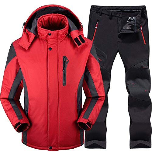 Combinaison Ski Homme Ensembles Ski et Snowboard Super Warm Imperméable Coupe-Vent Coupe-Vent Snowboard Pantalon Hiver Snow Suits Homme, Rouge, 4XL