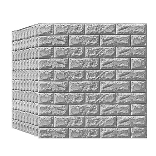10 piezas de papel tapiz gris autoadhesivo panel de pared 3D artificial...