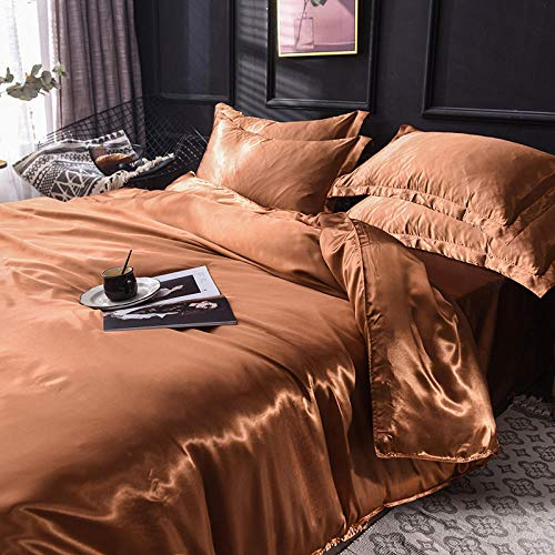 geek cook Bed Sheet Set,Washed silk duvet cover sheet spring and autumn summer ice silk bedding-coffee_1.2m three-piece bed quilt cover 150 * 200cm