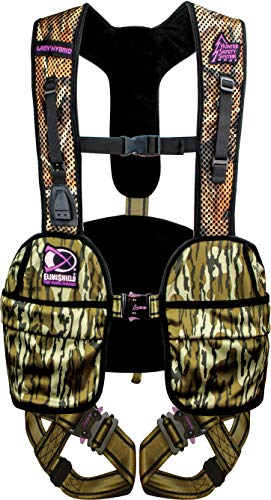 Hunter Safety System Lady Hybrid Treestand Safety Harness with ElimiShield Scent Control Technology, Mossy Oak, Small/Medium