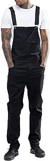 D Monos de Babero de Corte Entallado para Hombre Mono Desgastado Rasgado de Mezclilla con Bolsillo Pantalones Jeans con Bolsillo N