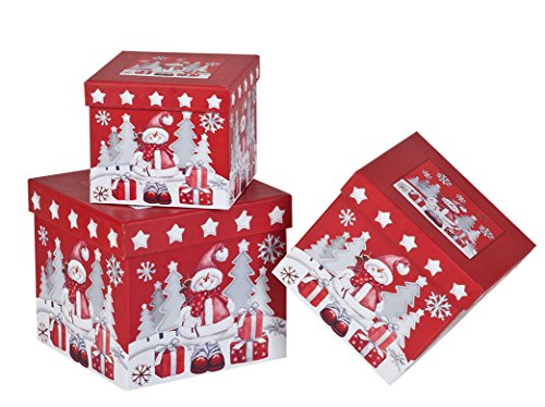 3 Piece Christmas Nesting Gift Boxes; Elegant and Fun Snowman Designs Nested Hard Christmas Boxes Perfect for Wrapping Presents or Xmas Decor (Red)