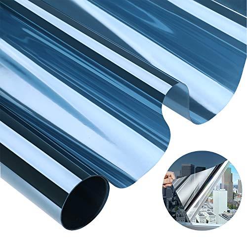 Fensterfolie Spiegelfolie Selbsthaftend Sichtschutzfolie Außen und Innen Sonnenschutzfolie für Fenster Folie für Haus / Büro75*300CM Blau-Silber