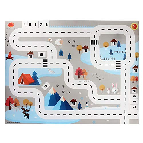 arthomer Alfombra Infantil, Imagen de Ciudad y tráfico, Alfombra en Relieve para Que jueguen los niños con 8 Piezas de Coche Plegable y 18 Piezas Señales de tráfico