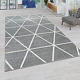 Paco Home Wohnzimmer Teppich Moderne Pastell Farben Skandinavischer Stil Rauten Muster, Grösse:120x170 cm, Farbe:Grau