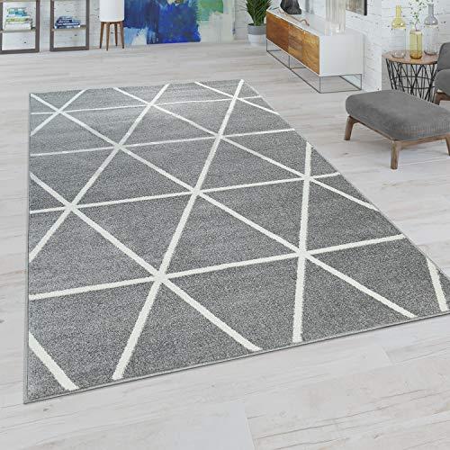 Paco Home Wohnzimmer Teppich, Moderne Pastell Farben, Skandinavischer Stil, Rauten Muster, Grösse:240x320 cm, Farbe:Grau
