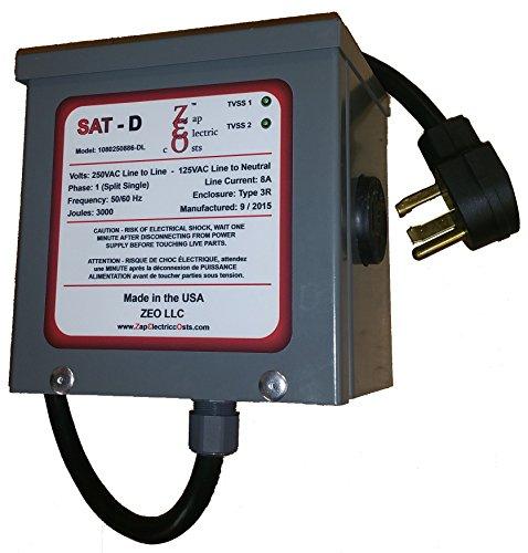 Whole House Energy Savings Power Factor Saver and Kvar Unit 1400 with TVSS - 4 Prong Dryer Plug