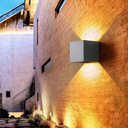 Wandlamp van staal met heldere LED-buitenverlichting, tuinverlichting, wandlamp, retro, oudwit, aluminium kubus, wandlamp, waterdicht, met verstelbare stralingshoek, 10 x 10 cm wandverlichting