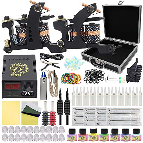 Tattoo Kit - Yuelong Tattoo Machine Kits Liner Shader Coils 2 Tattoo Machine Guns with Power Supply Foot Pedal Pigment Tattoo Needles Tips Grips Tattoo Accessices Tattoo Supplies