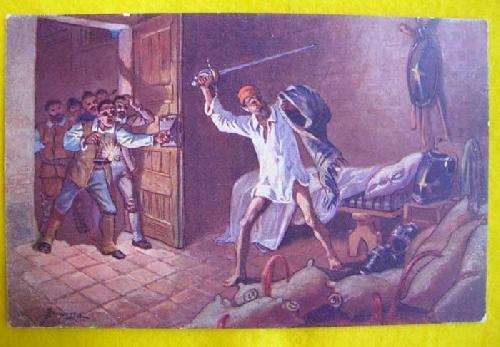 Antigua Postal - Old Postcard : Don Quijote de la Mancha - Descomunal batalla con los cueros de vino