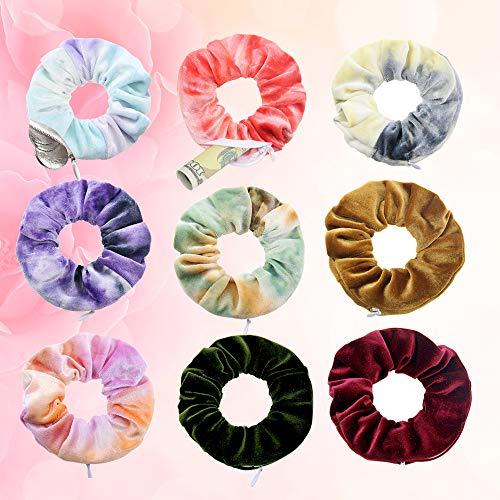 LATTCURE 9 Stück Haargummis Samt Scrunchies mit reißverschluss Haar Gummibänder Haarbänder Elastischer Bunte Haarschmuck Haarseil für Mädchen Damen Frauen Pferdeschwanz