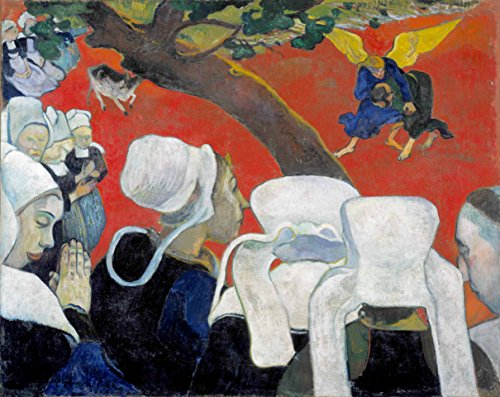Vision of The Sermon Jacob Wrestling with The Angel Paul Gauguin 1888 32X26 Inch(Ultra Giclee On Canvas, Stretched, Ready to Hang, Made in Canada)