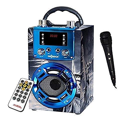 Draagbare mini-luidspreker New York karaoke. Luidspreker met FM-microfoon, USB mp3-luidspreker met bluetooth-verbinding met mobiele telefoon. Oplaadbare lithium batterij. Inclusief afstandsbediening en microfoon.