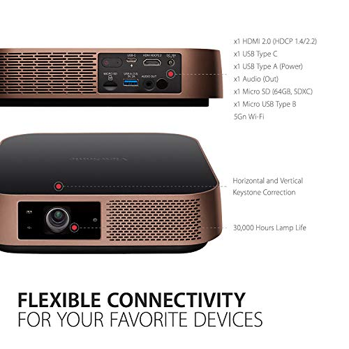 ViewSonic M2 Portable Smart 1080p Wi-Fi Projector with Harman Kardon Bluetooth Speakers USB Type C 125% Rec. 709 HDR and Screen Mirroring