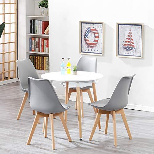 Uderkiny Essgruppen-A rund Esstisch und 4 Stühl eine MDF-Tischplatte und Stühle im nordischen Stil, Geeignet für Restaurants Küchen Balkone Büros usw (Grau 02 und Weiß 02)