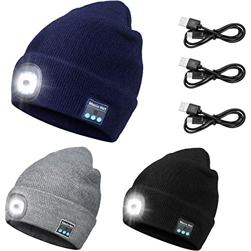 3 Pieces LED Beanies USB Rechargeable Music Winter Hat Wireless Beanie with Headlamp Built-in Microphone and Stereo Speaker Flashlight Hat with USB Cables for Running Cycling Skiing Hiking Camping