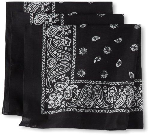Levi's Men's 100% Cotton Multi-purpose Bandana Gift Sets – Headband, Wrap, Protective Coverage, Black, Pack 3