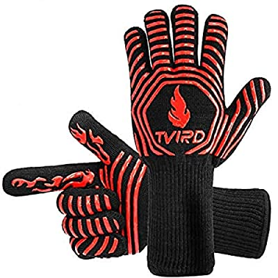 BBQ Gloves Extreme Heat Resistant, Tvird Oven Gloves BBQ Grilling Gloves 1472°F/ 800 °C Extreme Heat Resistant Oven Gloves, Forearm Protector For BBQ, Cooking, Grilling, Baking by Baogujasy