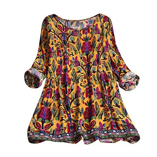 MRULIC Damen Fledermaus Hemd Lässig Locker Top Dünnschnitt Bluse Frühling Neu T-Shirt Leinenbluse Freundin(E2-Orange,EU-42/CN-XL)