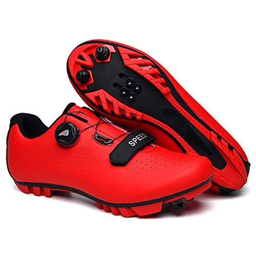 Calzado de Ciclismo Hombre, Zapato De Ciclismo Bicicleta Moutntain para Hombres - Zapatos De Bicicleta Profesionales para Mujeres para Girar Transpirable Adulto Unisex,RedA-45
