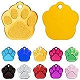 Iberiagifts - Placa en Forma de Huella para Mascotas pequeñas-Medianas Chapa Medalla de identificación Personalizada para Collar Perro Gato Mascota grabada (Dorado)