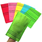Nepure Korean Exfoliating Mitt, Large Size, 5 Colors, Back and Body Exfoliating Washcloth for Removing Dry, Reusable (Mix, 5)