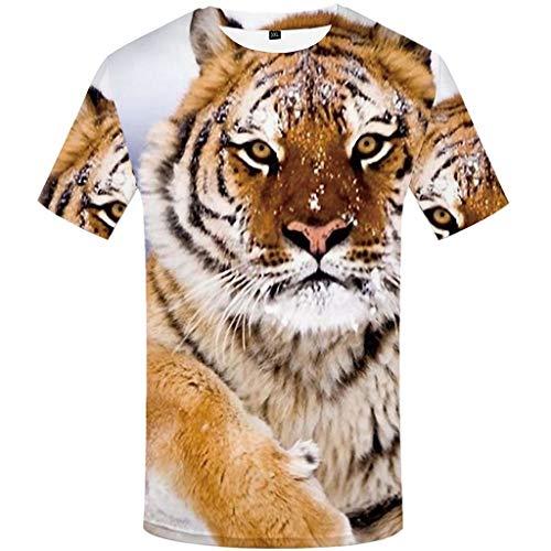 Realde--Herren Tops Kurzarm T-Shirt Mode Coole Tiger Cartoon Drucken Slim Fit Oberteil Rundhals Ausschnitt Mehrere Muster Bequem Bluse Männer Oversize Größe M-5XL