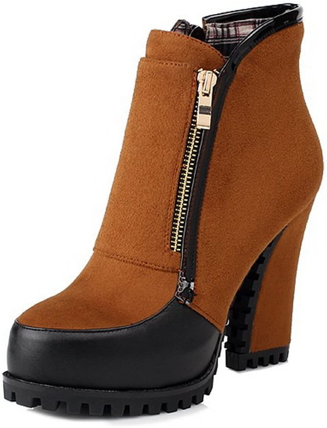 WeiPoot Women's PU Round Closed Toe High-Heels Solid Boots, Camel, 35