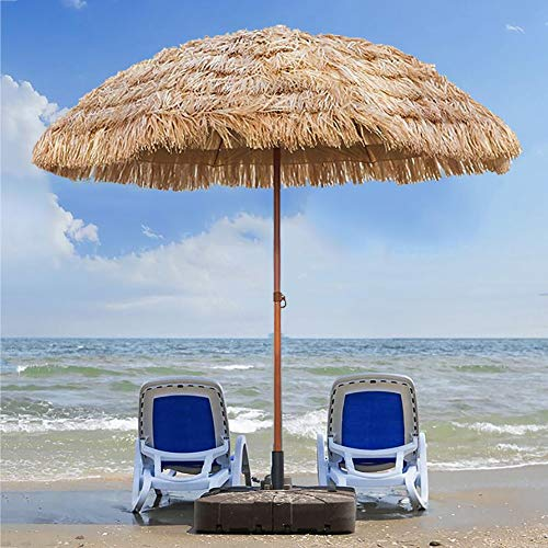 ZLI Ombrellone da Esterno Ombrellone da Spiaggia 2.4m/8ft, Paraso da Giardino Inclinabile Rotondo Paraso - Ricoperto di Paglia Imitazione, Ideale per Eventi Commerciali Balcone