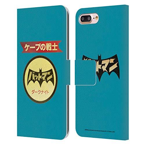 Head Case Designs Oficial Batman DC Comics Logotipo japonés Moda Vintage Carcasa de Cuero Tipo Libro Compatible con Apple iPhone 7 Plus/iPhone 8 Plus