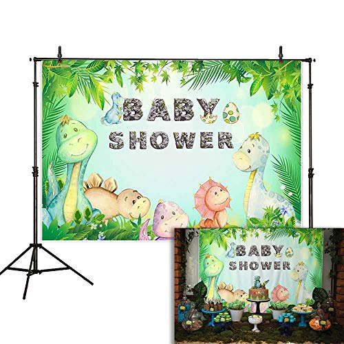 Allenjoy 7x5ft Cartoon Dinosaurs Baby Shower Backdrop Jungle Birthday Party Newborn Kids Photography Background Cake Table Banner Decoration Photo Booth Studio Props
