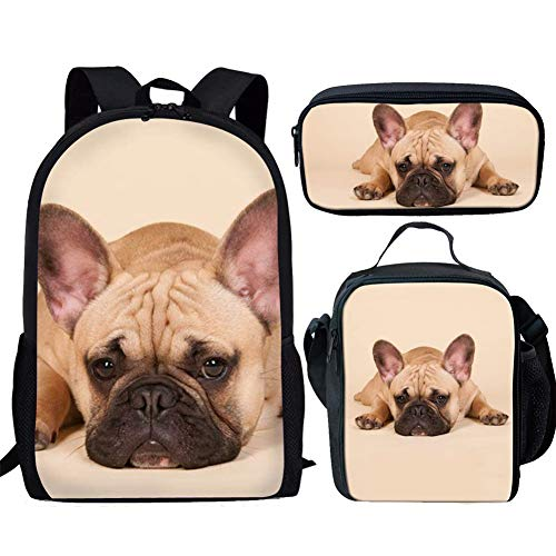 UNICEU Cute French Bulldog Printed Children Student School Backpack for Teen Boys with Lunch Bag and Pencil Case