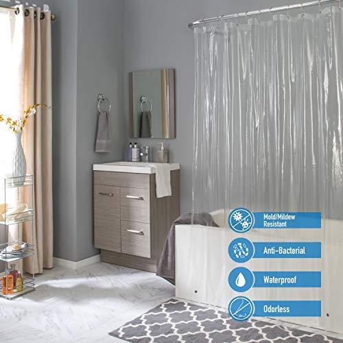 Bath Bliss Waterproof Shower Curtain Liner, 4X's Splash Guard Suction Cup Leak Protection, 12 Rust Resistant Copper Grommets, 3 Large Magnet Hem, 100% PVC, 72' x 72', Clear