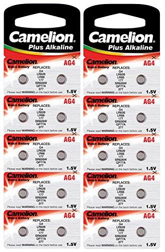 Camelion 12001004B20 Plus Alkaline Knopfzelle (AG4, LR66, LR626, 377, 20er-Pack, Blister)