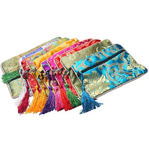 Generic 10 piezas de joyería de seda bolsas de regalo de brocado de seda chino monedero cremallera bolsa de joyería bolsas de regalo