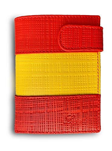 Cartera Hombre Piel Bandera Legado con Monedero para Monedas,  Billetera Capacidad Varios Billetes Fabricado en España,  de Cuero Regalo de Pulsera de España y Tarjeta de Protección RFID.