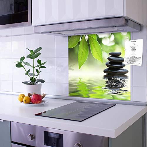 banjado Glas Spritzschutz für Küche und Herd | Küchenrückwand mit Motiv Steine&Relax | Glasrückwand selbstklebend ohne Bohren | Küchenspiegel magnetisch und beschreibbar (50x50cm)
