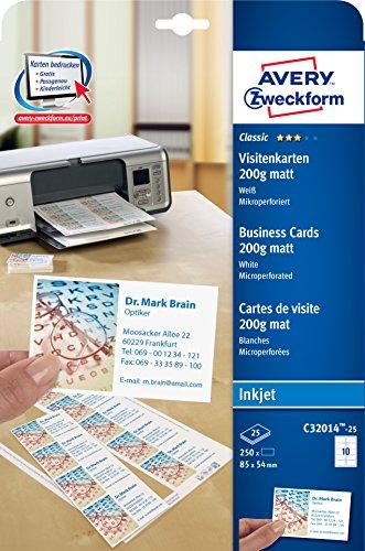 AVERY Zweckform C32014-25 Classic Visitenkarten, blanko (250 Stück, 200g, 85x54 mm, einseitig bedruckbar, matt weiß, extra feine Mikroperforation, 25 Blatt) zum Selbstbedrucken auf Inkjet-Druckern