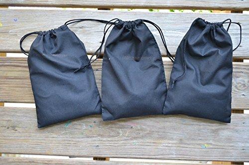 "12""x16"" Cotton Double Drawstring Muslin Bags (Black Color) (50)"