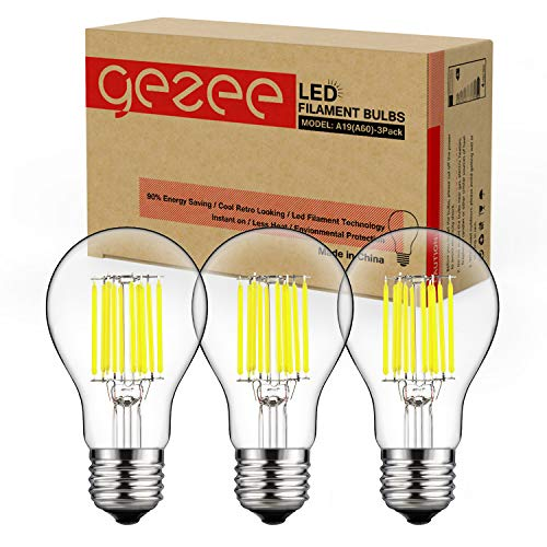 GEZEE 10W Edison Style Vintage LED Filament Light Bulb, 100W Incandescent Replacement, Daylight White 6000K,1000LM, E26 Medium Base Lamp, A19(A60) Antique Shape, Clear Glass Cover,Dimmable(3-Pack)
