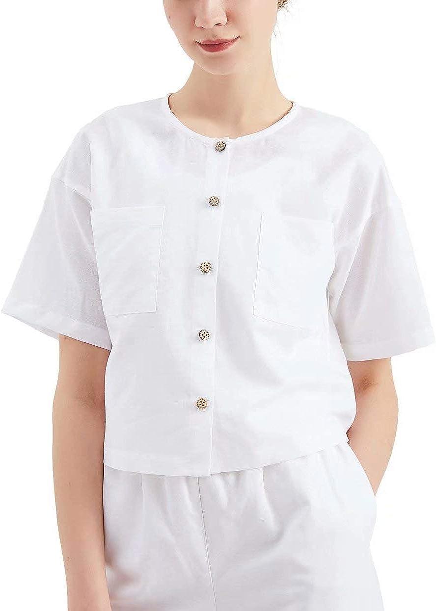 MEOMUA Women's Linen Button Down Shirt Casual Linen Cotton Plus Size Short Blouse