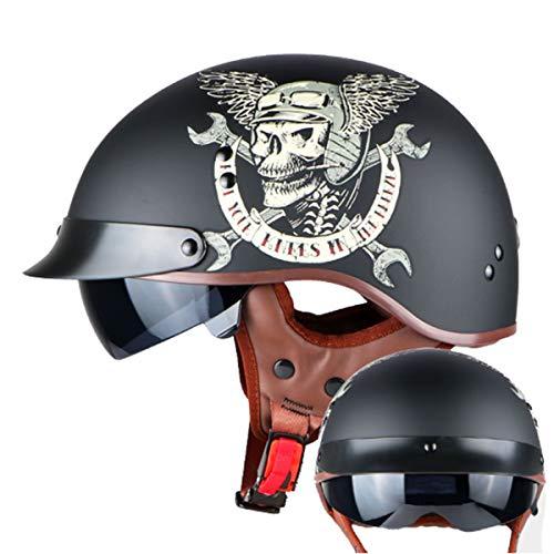 LCRAKON Casco de Moto Cascos Half Casco Retro Harley con Visera Interior Casco Moto Abierto Medio Casco de Motocicleta Vintage Dot Homologado Helmet De La Bici del Casco del Viaje Crucero Bicicleta