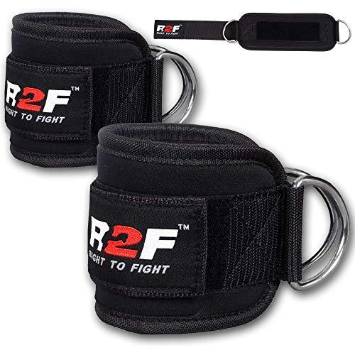 R2F Pesas para Tobillos Correas - Tobilleras Deportivas para Cable Máquinas - 2 Correas de Tobillo Acolchadas de Velcro con Ganchos - para Entrenamiento de piernas y glúteos en polea